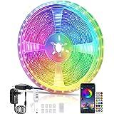 Tira LED, Voneta Tira de Luces LED Iluminación 5050 RGB, Control de APP y Remoto Control, Sincronizar con Música, Modo de Hor