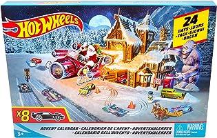 Hot Wheels FKF95 Adventskalender 2018 mit 8 Spielzeugautos und 16 Zubehörteilen, Spielzeug ab 3 Jahren