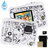 """Kids Waterproof Camera, DECOMEN Digital Underwater Camera for Boys and Girls, 12MP HD Action Sport Camcorder with 2.0"""" LCD, 8X Digital Zoom, Flash, Mic and 8G SD Card. [2019 Newest Version]"""