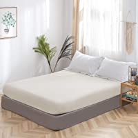 Fitted Sheet Double Size Bedding with All Around Elastics Brushed Microfiber Beige
