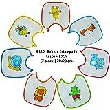 Baby Bites Duffi 5149-00 - Babero Estampado Lazos con Eva, Unisex, Surtido de Colores, 20 x 20 Cm, 7 piezas