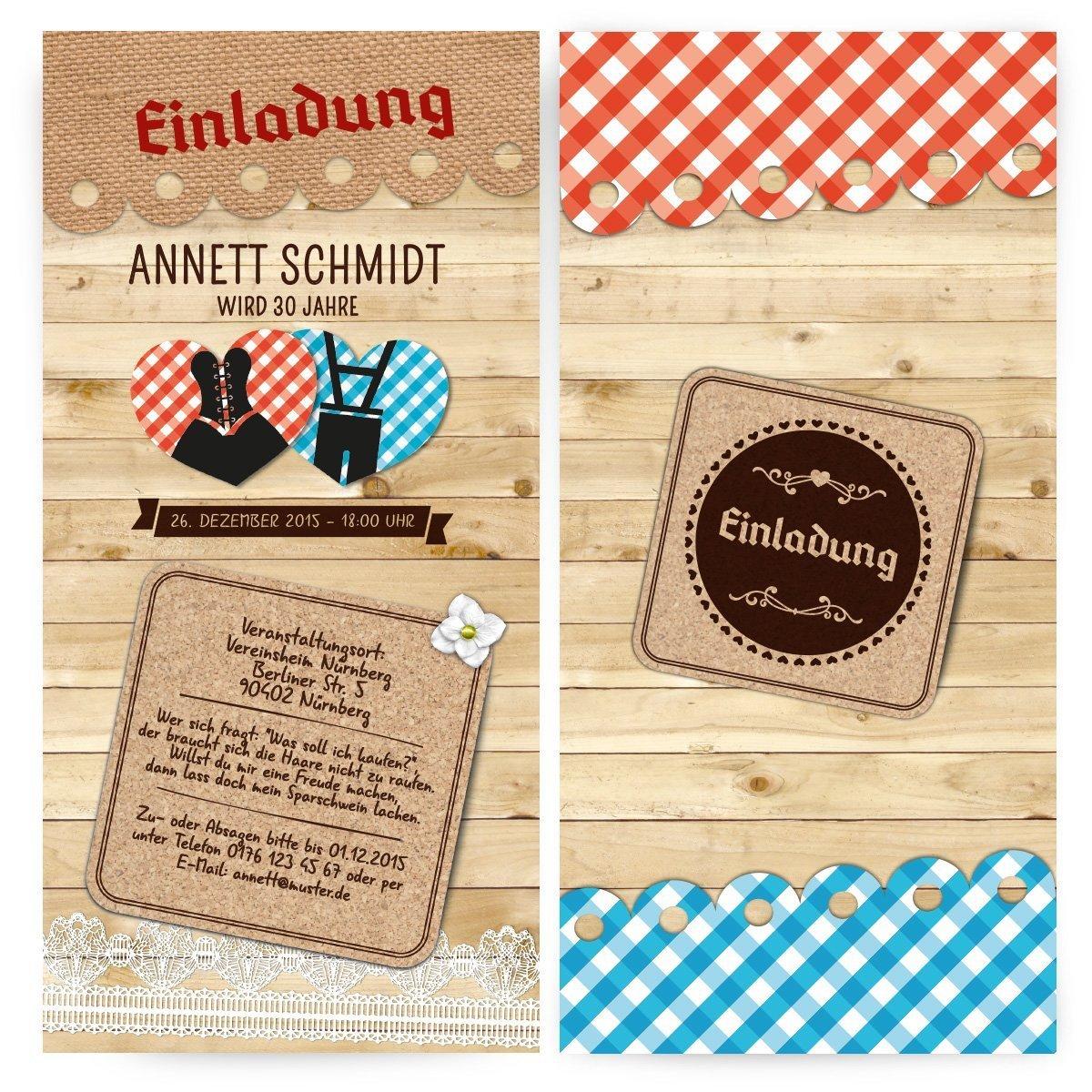 Einladungen (40 Stück) U2013 Dirndl Und Lederhose   Oktoberfest Frühschoppen  Geburtstag Einladungskarten: Amazon.de: Bürobedarf U0026 Schreibwaren