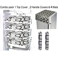 LOOMANTHA miles to go. Combo of Exclusive L- 15 Decorative 1 Fridge Top Cover, 2 Fridge Handle Cover & 4 Fridge Mat…