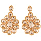 Touchstone Indian Bollywood Pretty Traditional Kundan Polki Look Designer Jewelry Earrings In Gold Tone For Women.