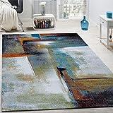 Tapis Design à Carreaux Contour Trendy Tape l'oeil Multicolore, Dimension:200x290 cm