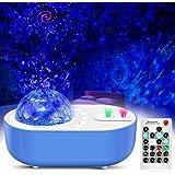LED Sternenhimmel Projektor Nachtlichter 360° Rotierender Wasserwellen Ozeanwellen Projektions Lampe mit Bluetooth Musik Laut