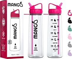 Mango Sports Motivational Water Bottle With Straw and Times To drink - BPA Free With Flip Nozzle and Leakproof cap [900ml/32oz]