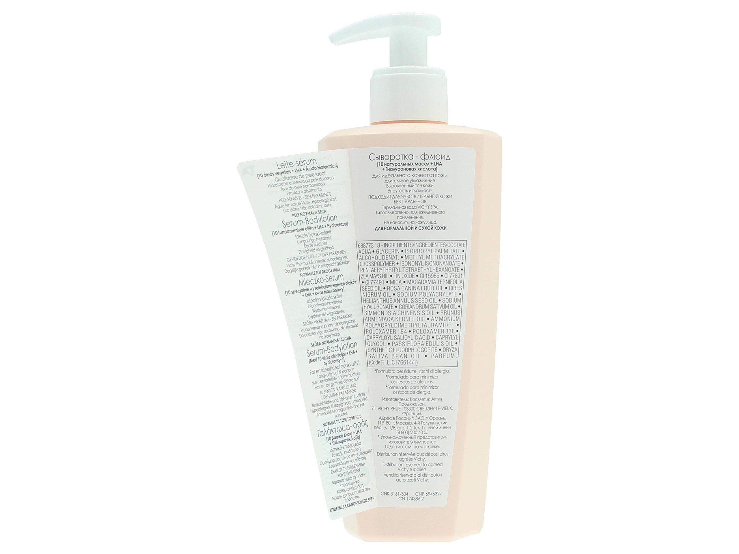 Vichy Idéal Body Milk 400ml – loción corporal (Piel mixta, Piel seca, Piel normal, Piel grasosa, Piel sensible, Wet skin, Anti-drying, Firming, Hydrating, Suavizar, Frasco dispensador)