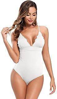 SHEKINI Costume da Bagno Intero Donna con Coulisse in Pizzo Monokini Backless Plus Size Costumi da Bagno Vita Alta Costume da Bagno