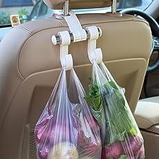 KM Auto Car Seat Headrest Bag Hook Hanger, Color: Cream