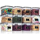 Vtopmart 0.8L boîtes de Conservation Alimentaire sans BPA de Nourriture en Plastique avec Couvercle,Ensemble De 12+24 Étiquet