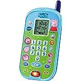 VTech - El teléfono de Peppa Pig, Móvil electrónico interactivo que simula una conversación telefónica, Voces de todos los pe