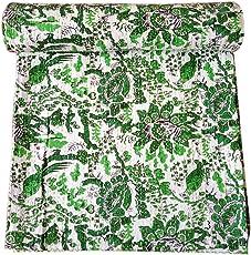 Kirti Textiles and Handicraft Handmade Kantha Quilt Cotton Bedspread Kantha Throw Coverlet