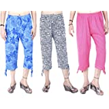 MUKHAKSH (Pack of 3) Girls Hot Cotton Printed Capri 3/4 for Casual & Sports wear (Print May Vary)
