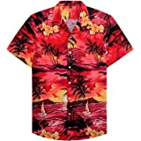 siliteelon Mens Hawaiian Shirt Short Sleeve Floral Aloha Shirts for Beach Holiday