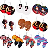 10 Pairs African Map Wooden Earrings Ethnic Style African Multicolor Earrings for Women