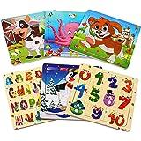 StillCool Puzzle en Bois 20 Pièces pour Les Enfants de 3 à 5 Ans, Ensemble de 6, Letters Numbers et Animaux
