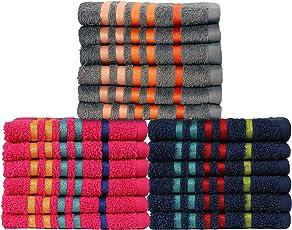 Casa Copenhagen Exotic 18 Piece 475 GSM Cotton Face Towel Set - Pink/Midnight Blue/Frost Grey
