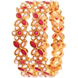 9blings Gold Plated Ruby Pearl Stone Studded Kada Bangle for Womens