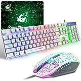 Tastiera e Mouse da Gioco, Layout Italiano QWERTY Gaming Tastiera Retroilluminato a LED Colore Arcobaleno, Mouse 6 Tasti 2400