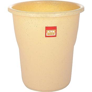 All Time Frosty Plastic Dust Bin - 22.5 cm x 22.5 cm x 24.5 cm, Granite Biscuit
