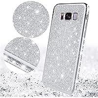 Surakey Cover Compatibile con Samsung Galaxy S8 Custodia Silicone Glitter Bling Paillettes Case Brillantini Diamante con TPU Bumper Ultra Slim Anti-Scratch Custodia per Samsung Galaxy S8,Argento