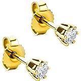 Orovi Pendientes para mujer con diamantes de oro amarillo de 14 quilates (585) y diamantes brillantes de 0,25 quilates, hecho