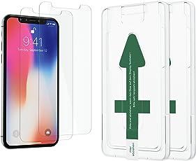 XeloTech [2 Stück] Panzerglas Folie für iPhone XS und X mit Schablone zur Positionierung - Displayschutzfolie aus H9 Glas - Mit Handy Hülle kompatible Schutzfolie