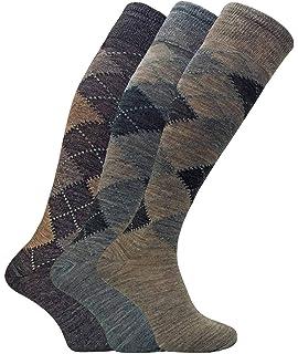 3 Pairs Men/'s Lambs Wool Non Elastic Argyle Socks Size 6-11