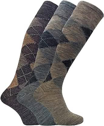 Sock Snob - 3 Pairs Mens Extra Long Knee High Argyle Lambs Wool Dress Socks in Brown or Grey