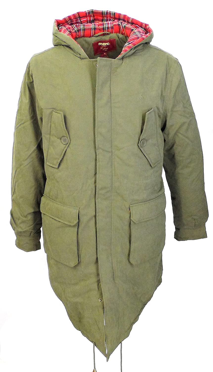 New Merc London M51 Style Mod Fishtail Parka Olive Green S: Amazon ...