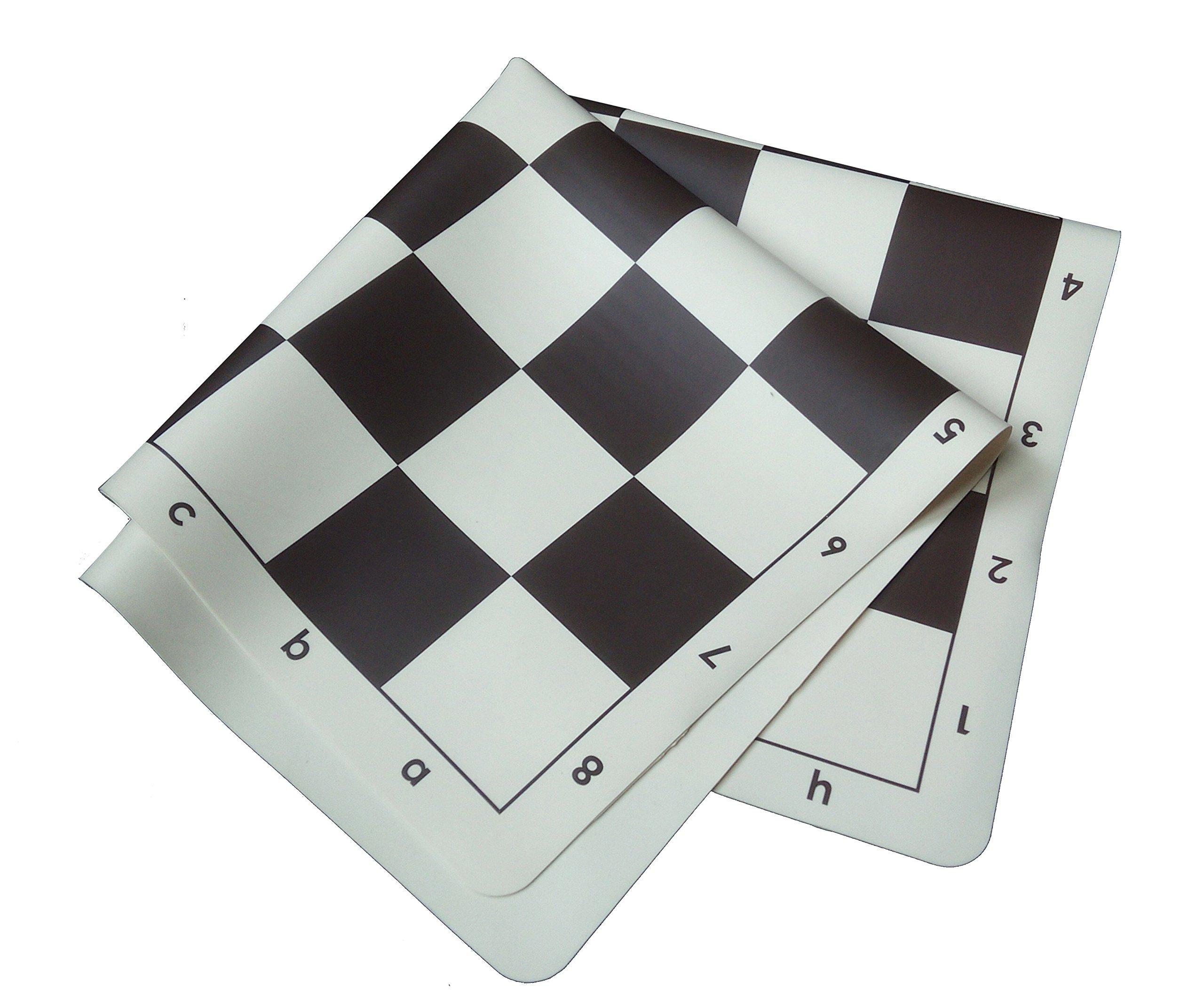 SchachQueen-Schachset-komplettes-Schachspiel-Silikon-mit-Schachbrett-und-Schachfiguren-Feldgre-57-mm-braunbeige-Knigshhe-90-mm-schwarzwei