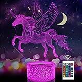 Veilleuse licorne pour enfant - Illusion d'optique 3D - 16 couleurs changeantes - Éclairage d'anniversaire ou de Noël - Cadea