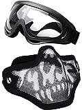 Coofit Masque Airsoft paintball 2 PCS Demi Masque Outdoor maille inox et lunettes de protection Masque métal extérieure (Noir Blanc)