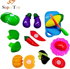 SuperToy(TM) Realistic Sliceable Vegetables Cutting Play Kitchen Set Toy (11 pcs set) with various Vegetables,Knife,Plate and Cutting Board for Kids
