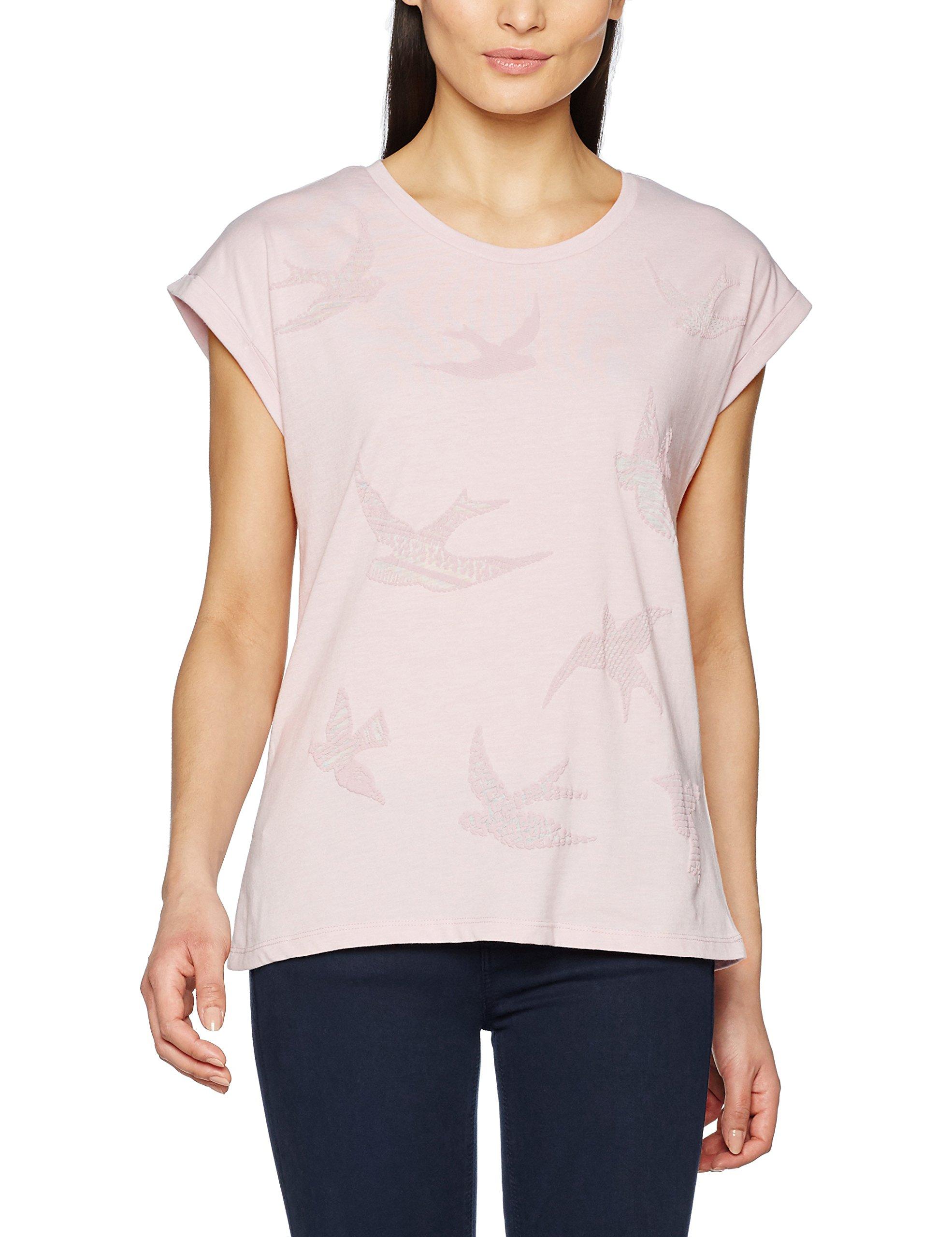 ESPRIT 037ee1k010, T-Shirt Donna, Multicolore (Old Pink), 40 (Taglia Produttore: Large)