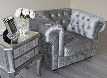 Empire 3, 2 ,1 Seater Sofa In Grey Silver Crushed Velvet Chesterfield Sofa  Suite