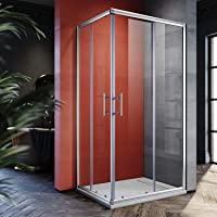 SONNI 90x70cm Eckeinstieg Duschkabine Sicherheitsglas Schiebetür Eckdusche Duschabtrennung Duschschiebetür Glas
