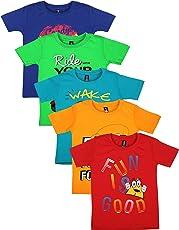 Maniac Boy's Cotton T-Shirt - Pack of 5