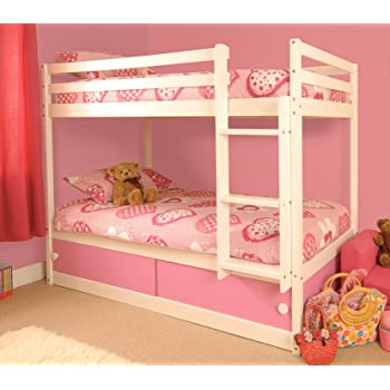 Comfy Living Girls Slide Storage White Wooden Bunk Bed With Pink