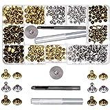 SIISMI 180 Lot de 2 tailles Cuir rivets Unique Cap Rivet clous en métal tubulaire avec 3 pièces de fixation Outil pour DIY Ar
