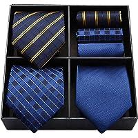 HISDERN Lotto 3 PCS Cravatta da uomo Polka Dot Check Stripe tinta unita Festa di nozze Fazzoletto Cravatta e fazzoletto…