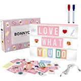 Caja de Luz A4 Rosa con 300 Letras, Divertidos Emojis y 2 Rotuladores | Ñ y Ç Incluidas| Cartel Luminoso LED Ideal para Decor