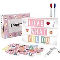 Light Box Rose avec 400 Lettres et Emojis, 2 Marqueurs - BONNYCO | Ç Inclus | Boite Lumineuse Message Ideal Decoration…