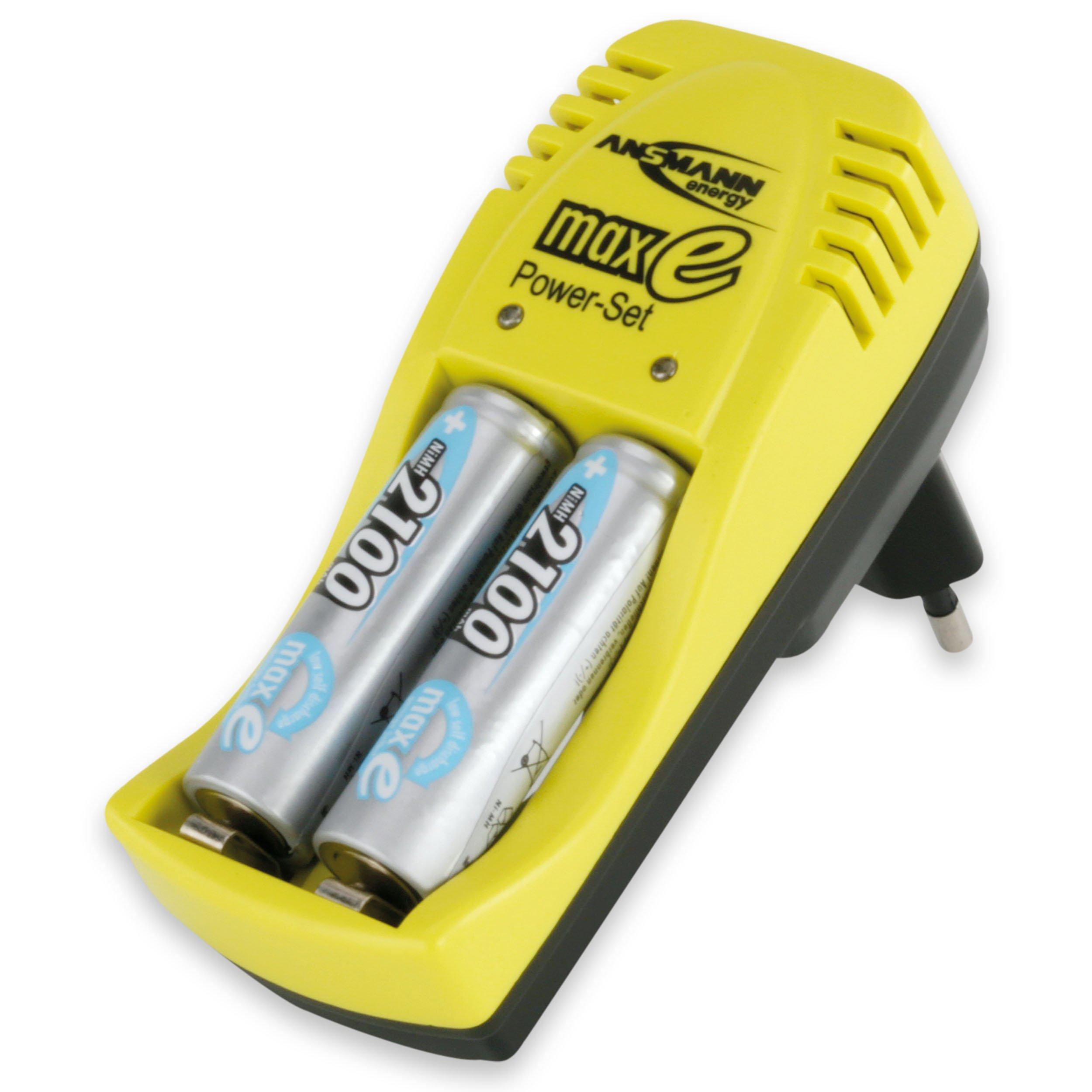 ANSMANN 5107543 Maxe Power Set Caricabatteria da Tavolo con Spia di Carica per Batterie Nicd/Nimh In