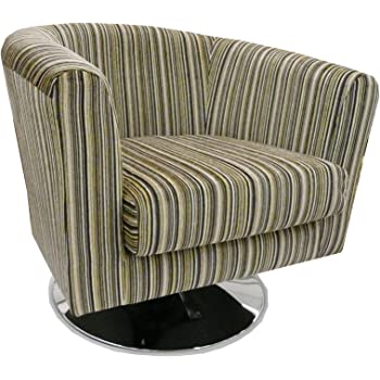 Luxury Traditional Shape Tub Chair On A Chrome Swivel Base Upholstered In A  Quality Lemon Coloured Stripe Fabric And Also Available In Lots Of  Different ...