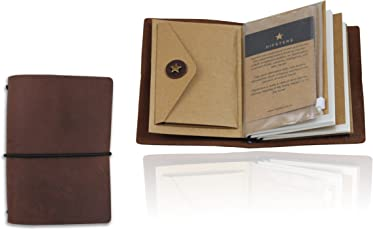 Hipsters Traveller's Notebook Organiser and Journal Premium Leather, Refillable and Modular with Complete Kit- 2 Notebooks, Kraft Insert, and Zip case