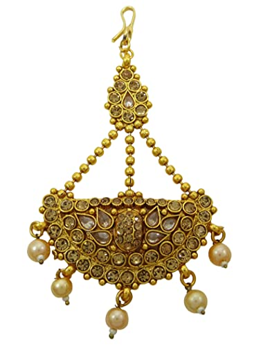 Banithani Traditional Goldtone Forehead Mattha Patti Indian CZ Passa Ethnic  Jewellery Gift For Her: Amazon.co.uk: Jewellery