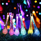 30 LED Solar String Lights, 6.5M/21.3FT Outdoor Garden LED Fairy Lights 8 Modes, Waterproof Crystal Raindrop Decorative Light