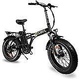 """e-IBK Bici Elettrica Pieghevole Fat Bike 20"""" Pollici Batteria 48V Volt Litio Telaio in Alluminio Cambio Shimano Motore 250w/5"""